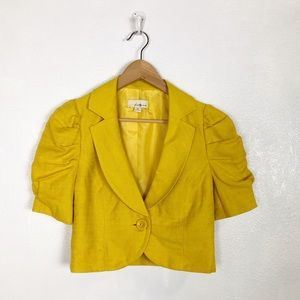 Forever 21 yellow linen blend short sleeve blazer